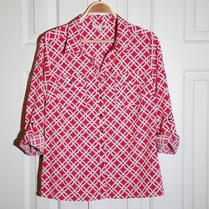 Notations Geometric Printed Button Down Blouse